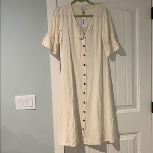 When and ivory button down dress